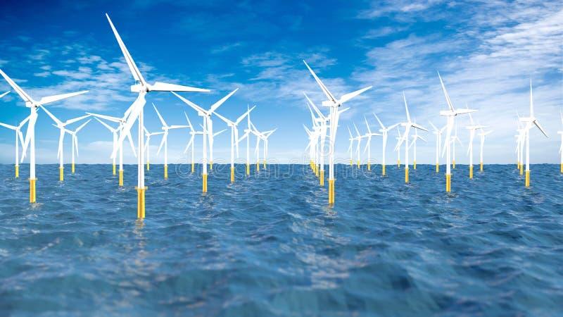 Панорамный вид набора турбин формируя ветровую электростанцию в середине океана в течение дня с пасмурным голубым небом иллюстрация вектора
