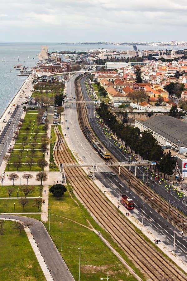 Панорамный вид над Лиссабоном стоковое фото rf