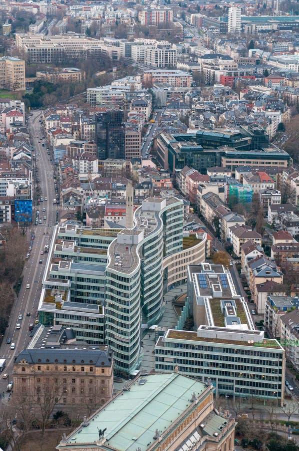 Панорамный вид на город Франкфурт - финансовый центр Германии Европа стоковое изображение rf