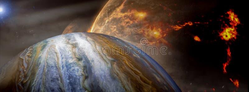 Панорамный вид планет в далекой солнечной системе в космосе стоковое изображение rf