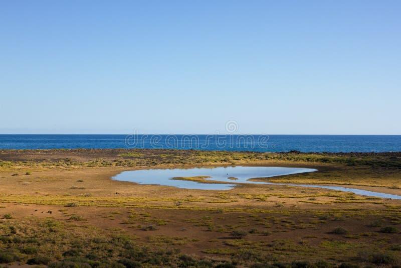 Панорамный вид на океан Вулкан, черные утесы Озеро стоковые фото