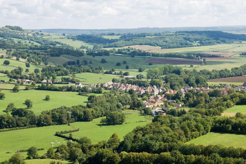 Панорамный вид с воздуха около аббатства Vezelay в Франции стоковое фото