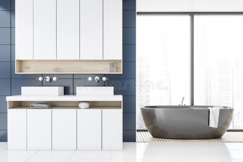 Панорамный голубой bathroom, ушат и двойная раковина иллюстрация вектора