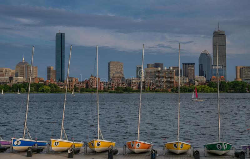 Панорамный горизонт Бостон от реки стоковая фотография rf