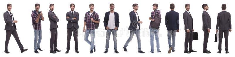 Панорамный коллаж многообещающего молодого человека стоковая фотография rf