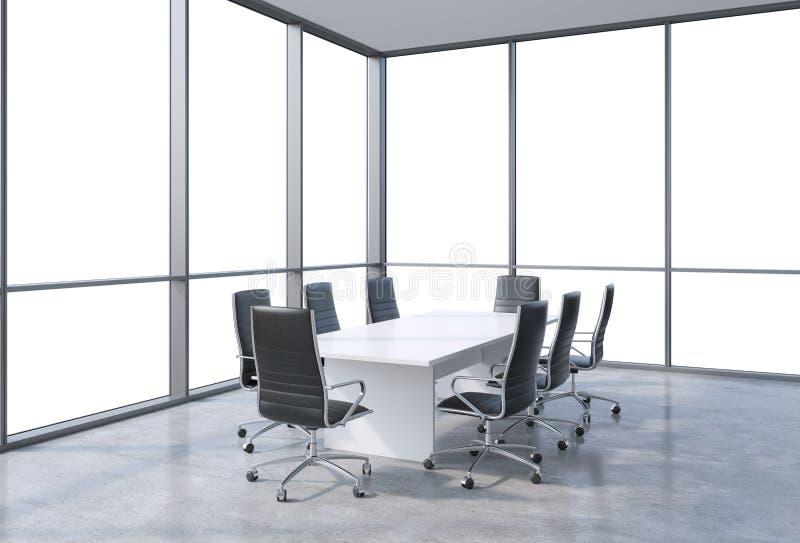 Панорамный конференц-зал в современном офисе, взгляд космоса экземпляра от окон Черные стулья и белая таблица иллюстрация штока