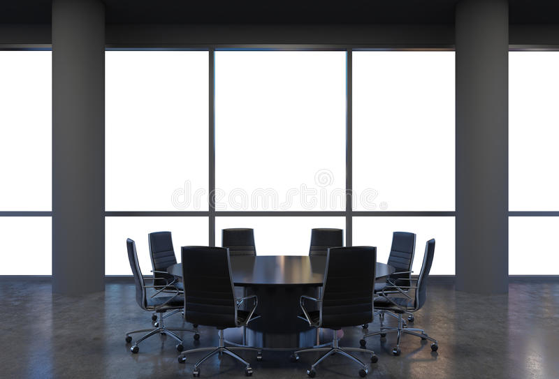 Панорамный конференц-зал в современном офисе, взгляд космоса экземпляра от окон Черные стулья и черный круглый стол иллюстрация штока