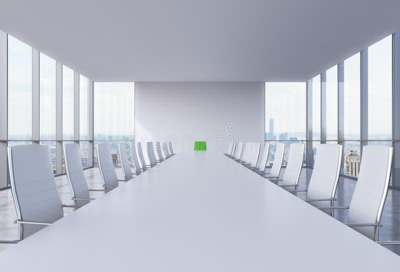 Панорамный конференц-зал в современном офисе в Нью-Йорке Белые стулья и белая таблица Зеленый стул в голове таблицы иллюстрация вектора