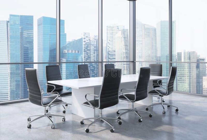 Панорамный конференц-зал в современном офисе в Сингапуре Черные стулья и белая таблица иллюстрация вектора