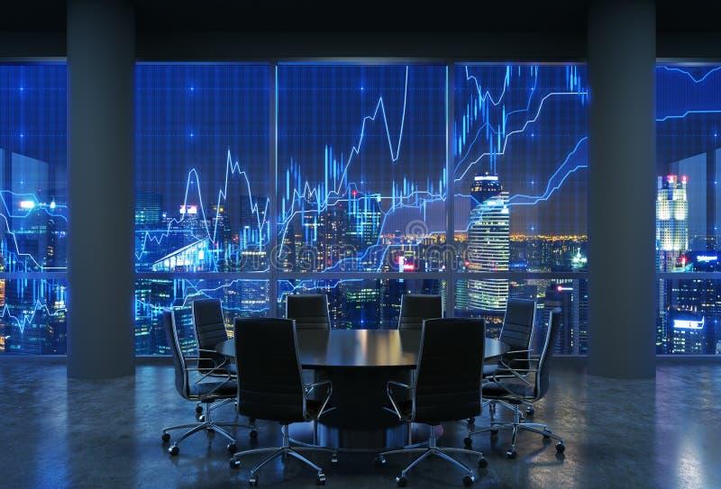 Панорамный конференц-зал в современном офисе, городском пейзаже небоскребов на ноче, Манхаттана Нью-Йорка иллюстрация вектора
