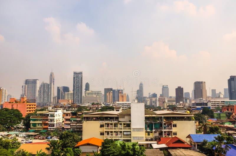 Панорамный пейзаж центра Бангкока стоковые фотографии rf