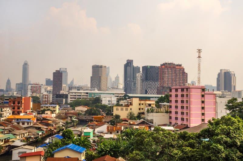 Панорамный пейзаж центра Бангкока стоковые фото