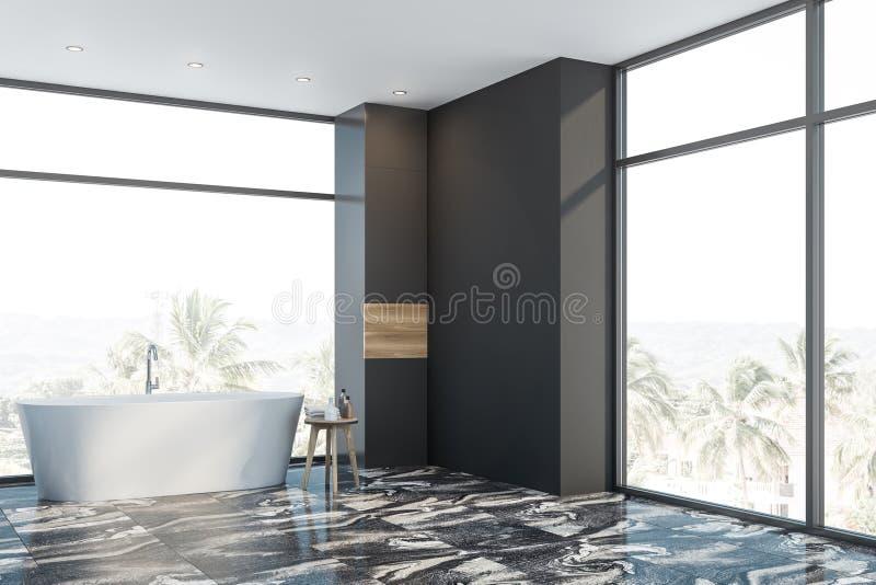 Панорамный серый мраморный bathroom пола с ушатом бесплатная иллюстрация