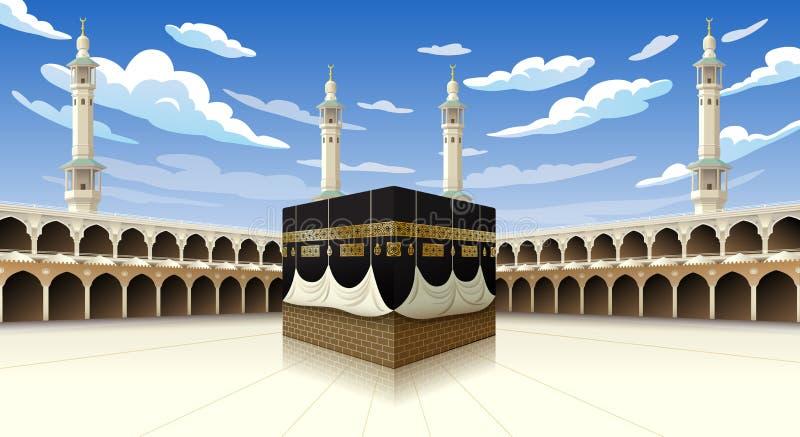 Панорамный Kaaba для шагов хаджа в мекку Саудовскую Аравию мечети al-Haram, иллюстрация вектора на голубом небе с облаками - иллюстрация вектора