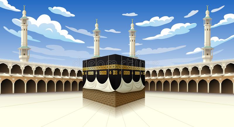 Панорамный Kaaba для шагов хаджа в мекку Саудовскую Аравию мечети al-Haram, иллюстрация вектора на голубом небе с облаками - иллюстрация штока
