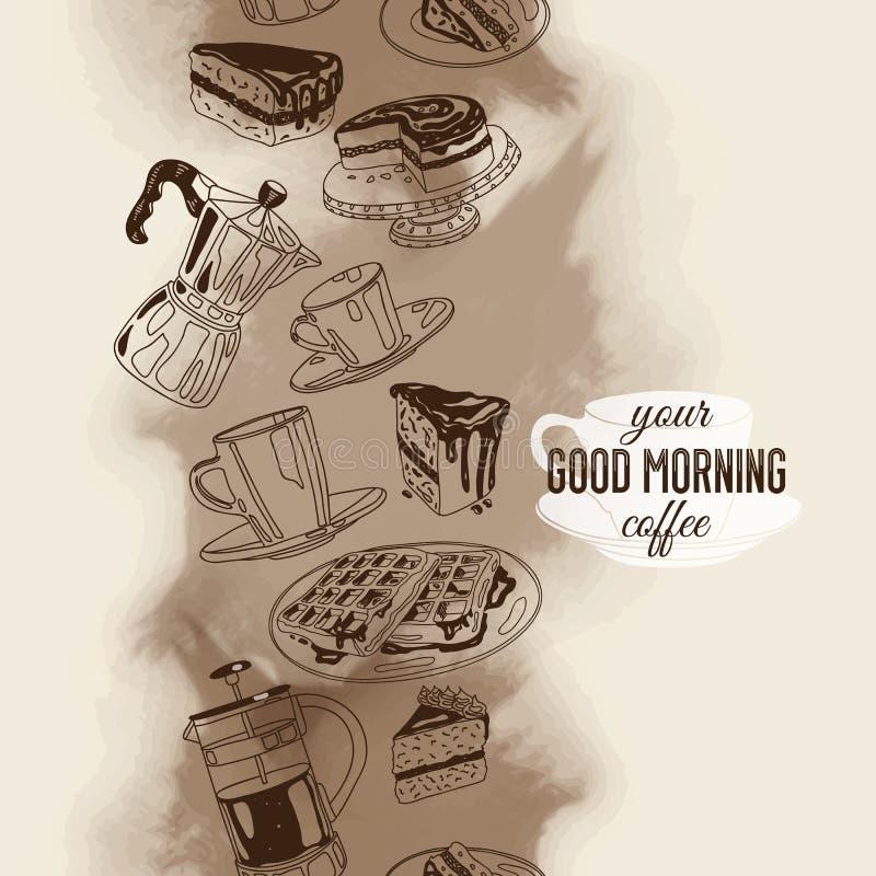 Пансионер вектора безшовный с кофе и помадками бесплатная иллюстрация