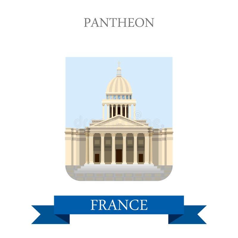 Пантеон в ориентир ориентирах визирования привлекательности вектора Парижа Франции плоских бесплатная иллюстрация