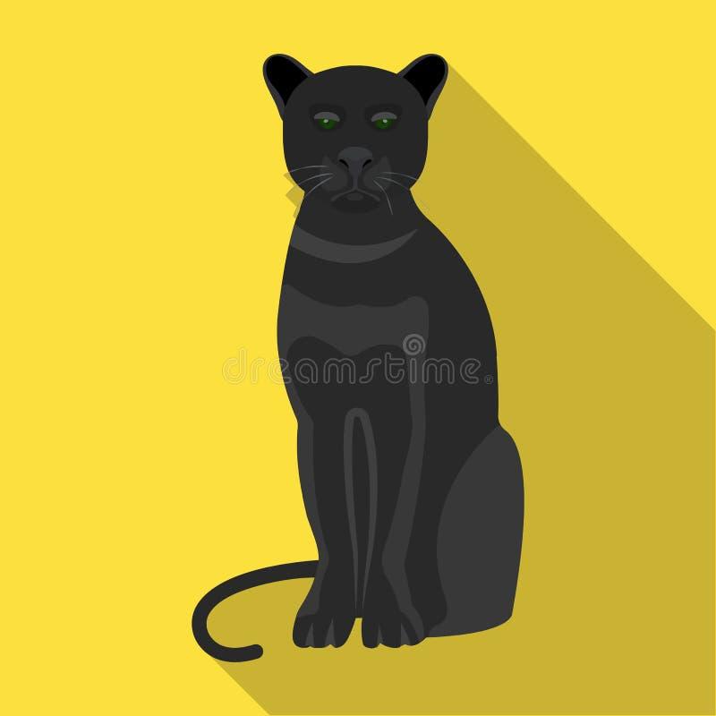 Пантера, захватническое животное Pantera, значок одичалого кота одиночный в плоской сети иллюстрации запаса символа вектора стиля иллюстрация штока
