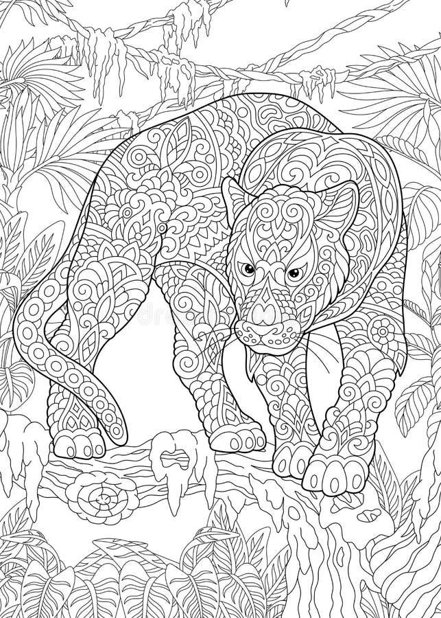 Пантера Zentangle черная иллюстрация вектора