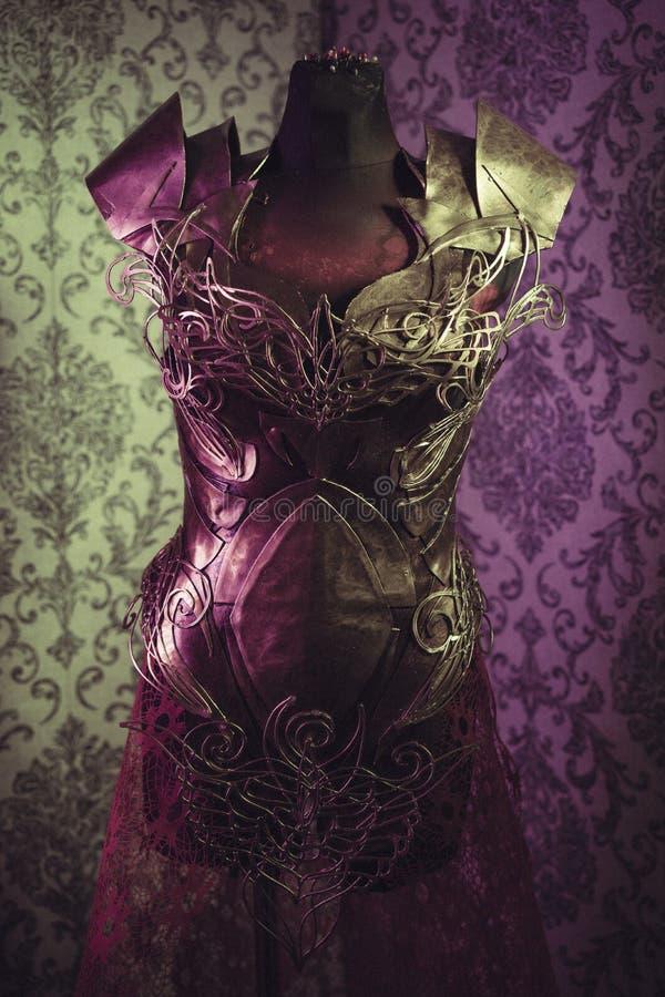 Панцырь нагрудника металла женщины сильного handmade в золоте с идет стоковые изображения