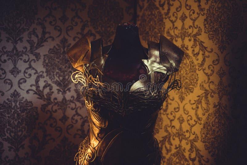 Панцырь нагрудника металла женщины сильного handmade в золоте с идет стоковое изображение