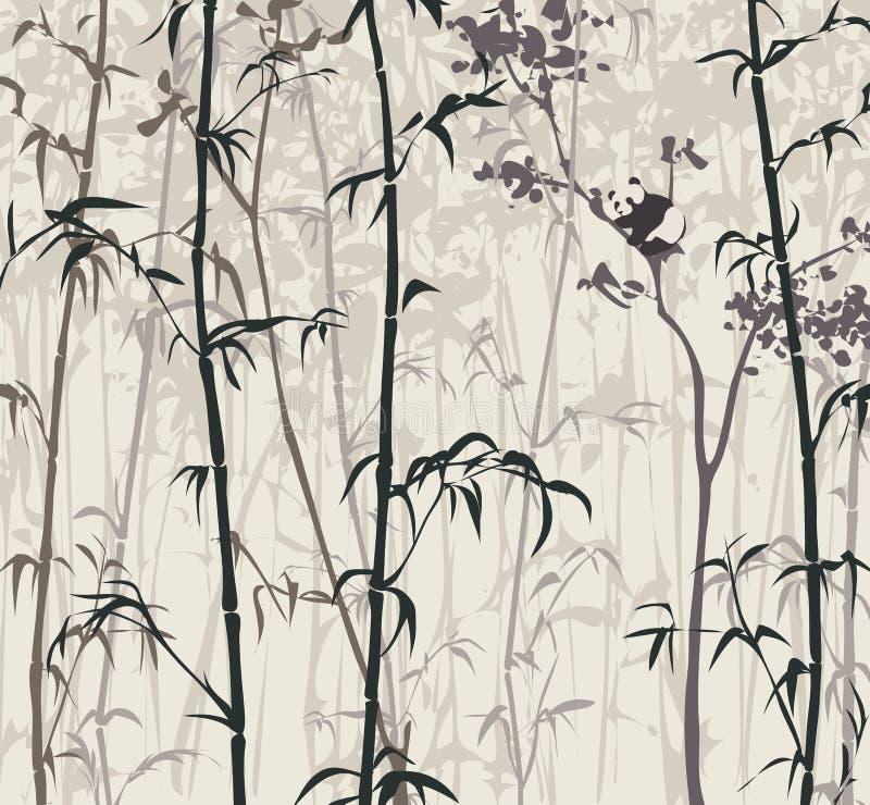 Панда в бамбуковом лесе бесплатная иллюстрация