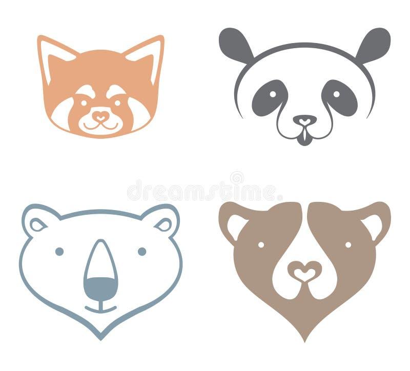 Панда, полярный медведь, бурый медведь бесплатная иллюстрация