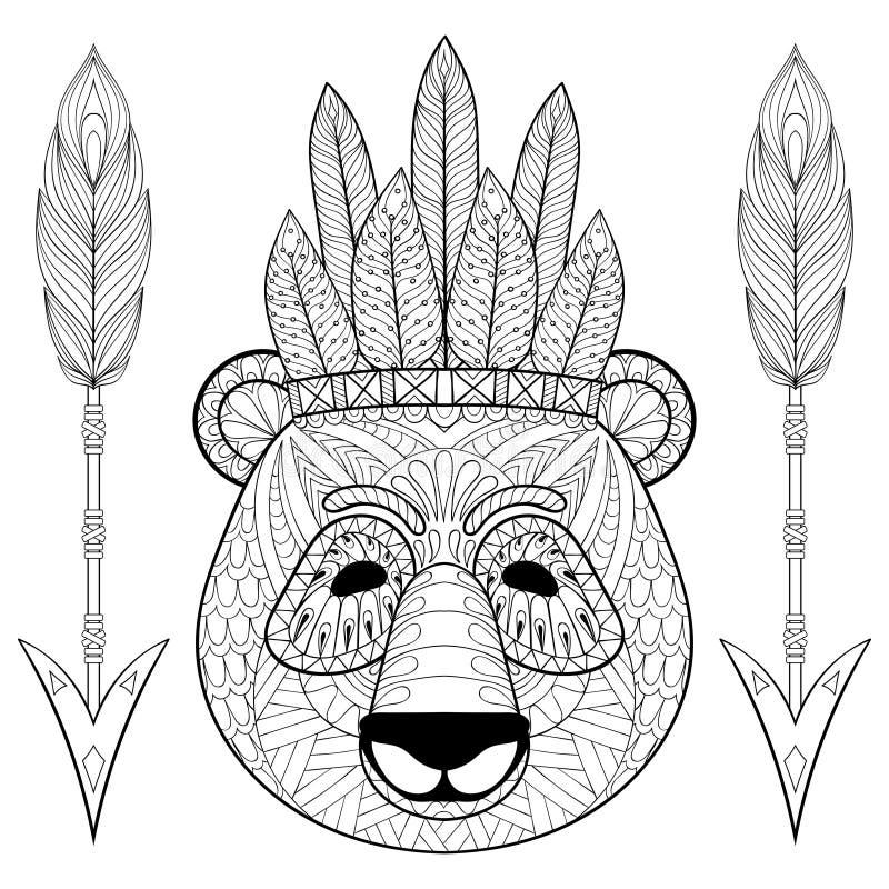 Панда с warbonnet, стрелками в стиле zentangle Freehand эскиз иллюстрация штока