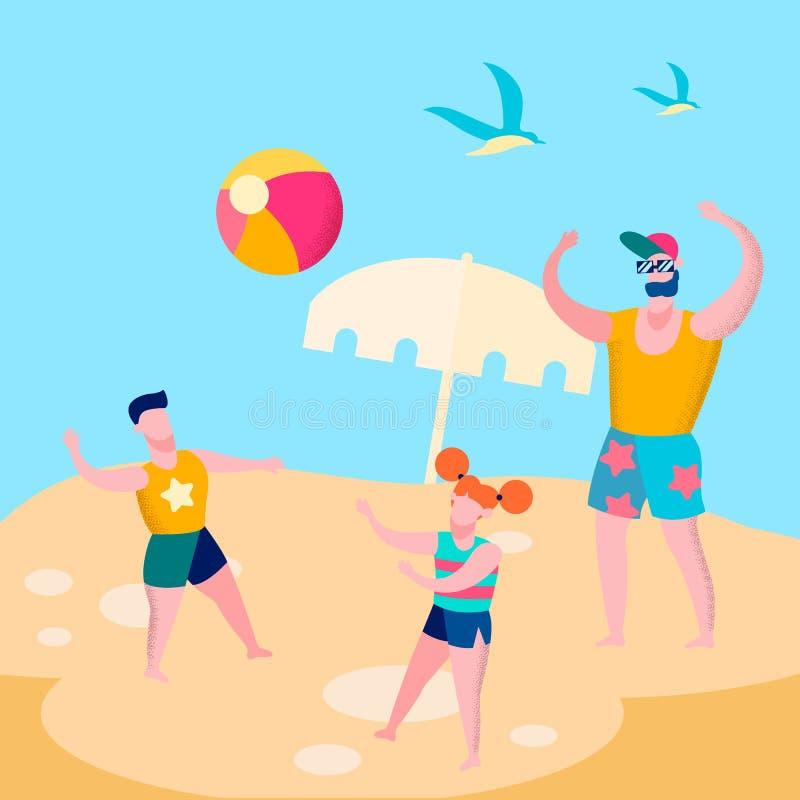 Папа и дети играя иллюстрацию центра событий плоскую иллюстрация вектора