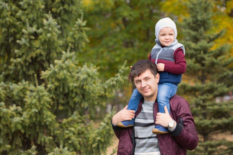 Папа и его сын парк осени стоковые фотографии rf