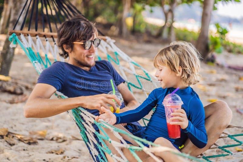 Папа и сын имея потеху в гамаке с напитки стоковые фотографии rf