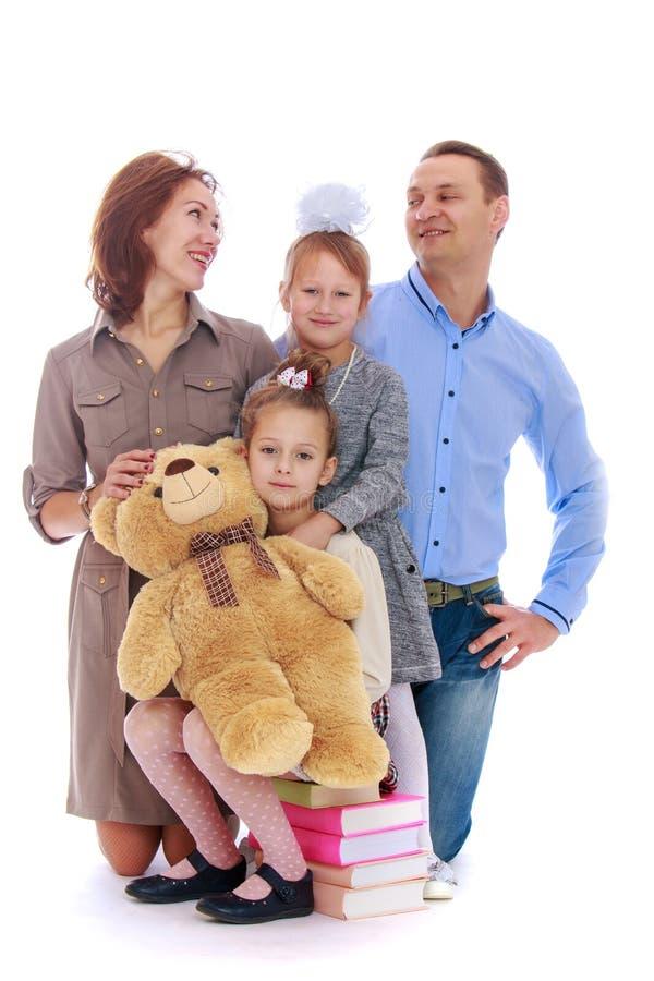 Папа мамы семьи и 2 дочери стоковые изображения