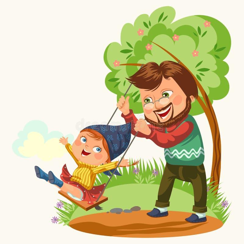 Папа свертывает его дочь на качании связанном к дереву, ребенку отбрасывая, летним каникулам дня отцов счастливому семьи в парке, иллюстрация штока