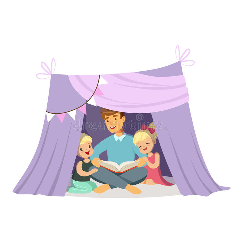 Папа читая книгу к ее детям пока сидящ в шатре tepee, детях имея потеху в иллюстрации вектора хаты иллюстрация вектора
