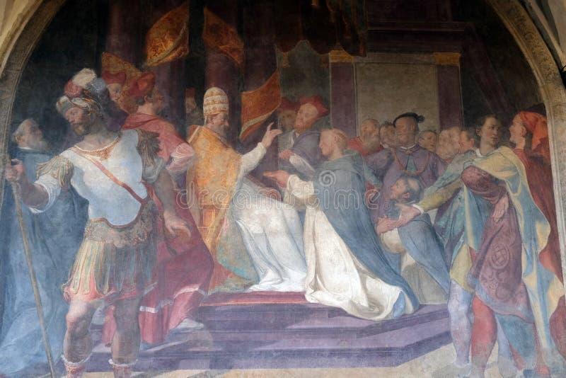 Папа Honorius III подтверждает доминиканское правило, церковь повести Santa Maria во Флоренс стоковые изображения rf