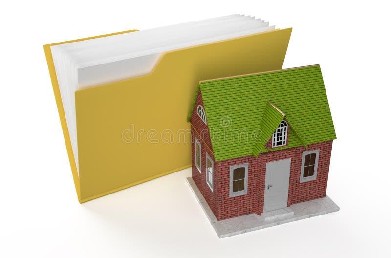 Папка-значок с домом иллюстрация штока