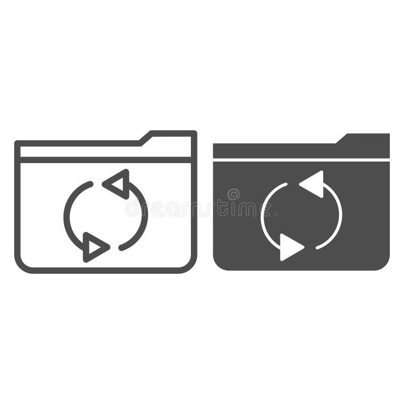 Папка освежает линию и значок глифа Иллюстрация вектора папки обновления изолированная на белизне Стиль плана папки компьютера иллюстрация штока