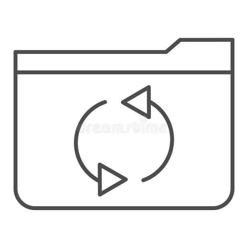 Папка освежает тонкую линию значок Иллюстрация вектора папки обновления изолированная на белизне Дизайн стиля плана папки компьют иллюстрация вектора