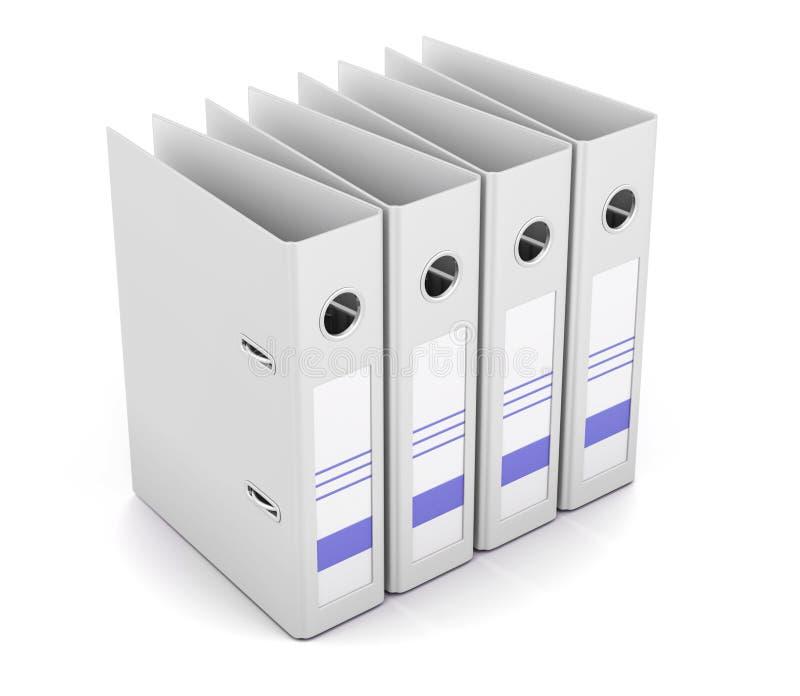 Папка офиса в ряд изолированная на белой предпосылке renderin 3D иллюстрация вектора