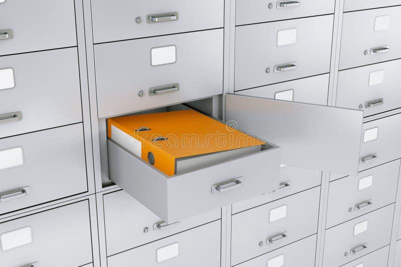Папка связывателя офиса в раскрытом сейфе банка renderi 3D иллюстрация штока