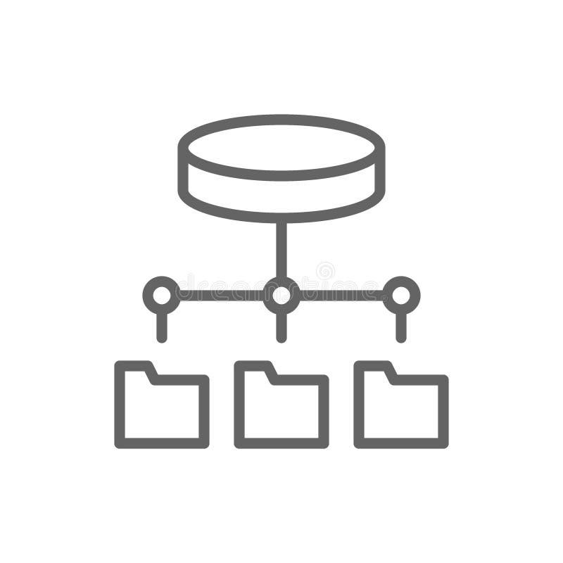 Папка хозяйничая, сервер ftp, актуализация программного обеспечения, линия значок хранения данных иллюстрация вектора