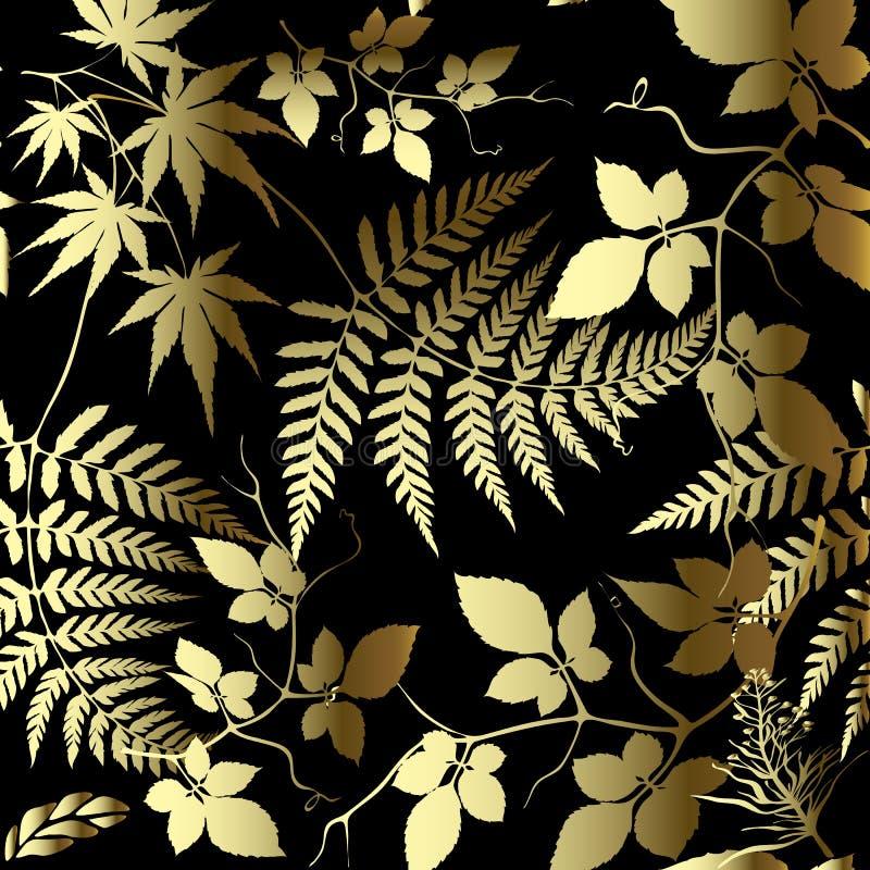 Папоротник выходит флористическому вектору золота безшовная картина Богато украшенная густолиственная предпосылка Орнаментальный  иллюстрация штока