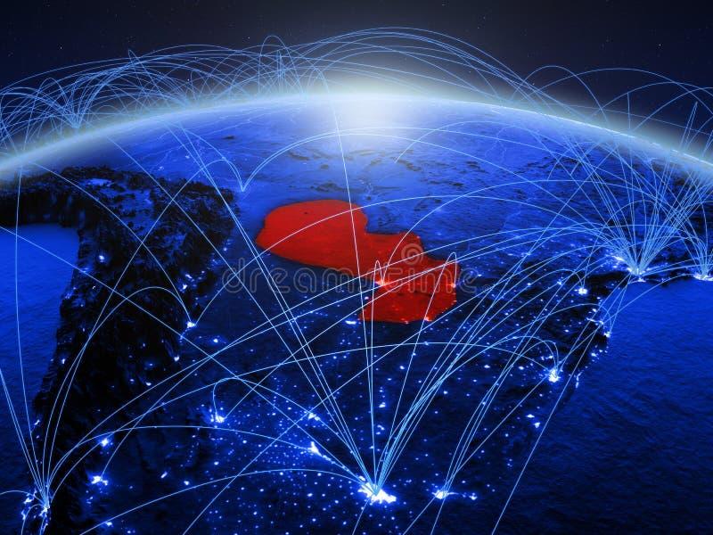 Парагвай на голубой цифровой земле планеты с международной сетью представляя сообщение, перемещение и соединения 3d стоковое фото