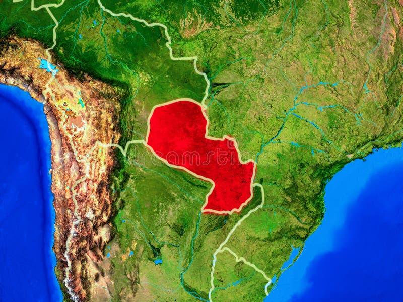 Парагвай на земле с границами стоковая фотография rf