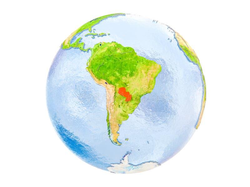 Парагвай на изолированном глобусе стоковые фото