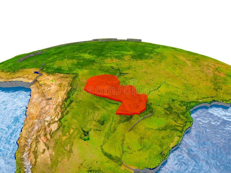 Парагвай на модели земли стоковые изображения