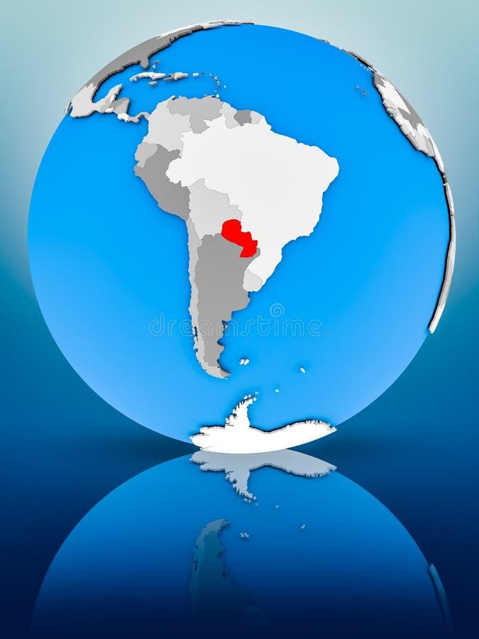 Парагвай на политическом глобусе стоковые фотографии rf