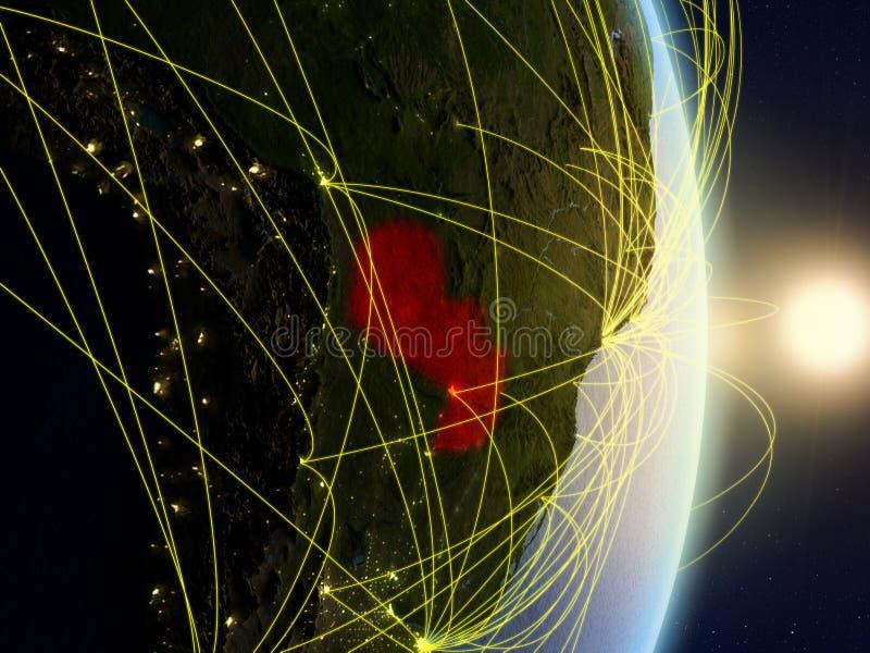 Парагвай на сетевой земле планеты стоковая фотография