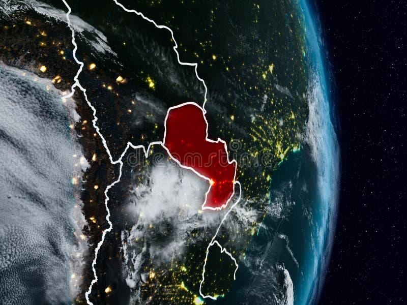 Парагвай от космоса на ноче стоковые изображения