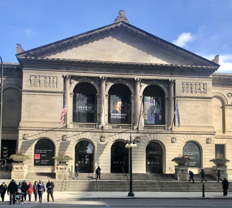 Парадный вход института искусства Чикаго стоковые изображения rf